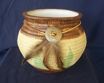 Ceramic basket planter