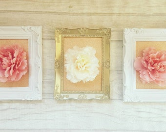 3d flower picture set, 3d picture, 3d floral picture, floral wall hanging, dusty pink, rose gold