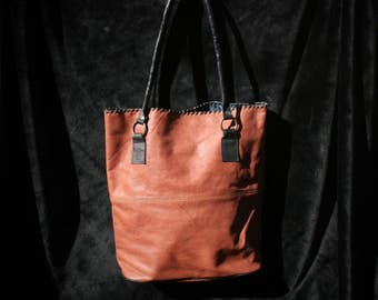 Simple & Elegant Tote - Turquoise Interior - Genuine Leather - Handmade Bag