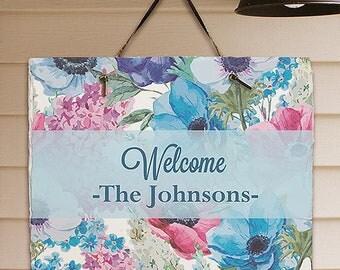 Personalized Floral Spring Garden Slate Custom Name Gift