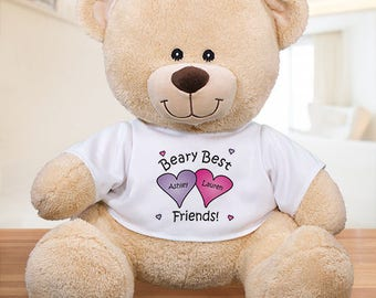 Personalized Beary Best Friends Teddy Bear Custom Name Gift