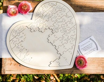 Personalised Wooden Heart Jigsaw Guest Book/ Wedding guest book/ Puzzle guest book/ heart guest book/ Custom guest book/ Rustic guest book