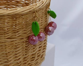 Cherry earrings antique pink