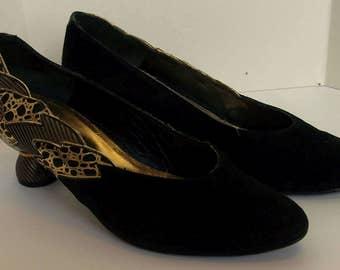 Fabulous 1980's black evening heeled shoes size 4 (36)