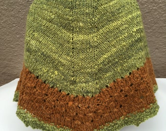 Hand Knit with Handspun Yarns Shawlette  or Kerchief shawl in Green and Brown