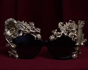 Baroque Cherub Angel Detailed Embellished Rococo Shades Sunglasses