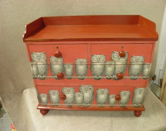 """Victorian Painted Birch Chest 2 long & 2 short Drawers with Fornasetti """"Nottambule"""" Decoupage Decoration"""