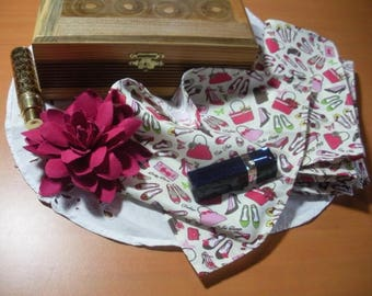 Six fashion Girly handkerchiefs, washable cotton - for Lady or girl