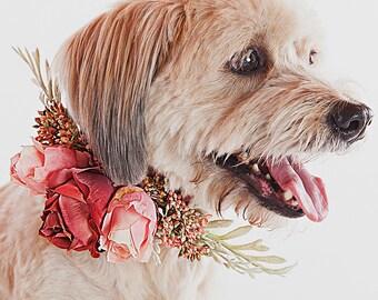LISA- Wedding Dog Collar, Dog Flower Crown, Floral Dog Collar, Spring Wedding, Boho Wedding, Bohemian Wedding, Dog Flower Girl, Pet Wreath