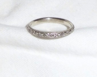 Vintage 18k HEAVY White Gold 1930 Estate Wedding Ring Band Custom Engraving 4g sz 10.25 Large Marked 18 k kt 18kt 750 Men Man Engraved