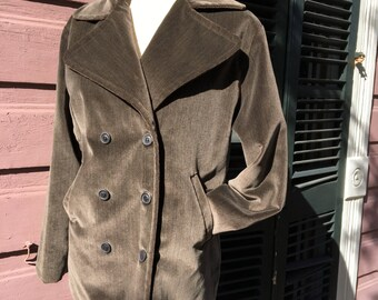 Groggy Brown Peacoat Style Jacket, Size 8