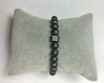 Bracelet matte hematite and micro pave CZ