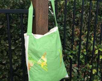 Green Patchwork and Calico Market Bag