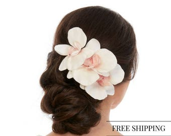 Floral Hair Piece - Orchid Hair Piece- Orchid Hair Comb - Orchid Hair Clip - Silk Orchids Hair -  White Silk Orchid - Real Touch Orchids