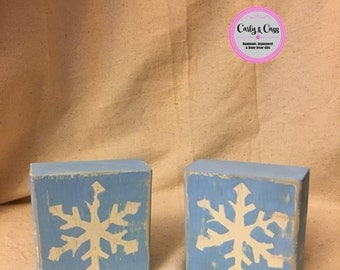 Rustic Snowflake Blocks, Painted Snowflakes, Psinted Wiid, Snowflake, Christmas Blocks, Holiday, Winter, Wood, Distressed