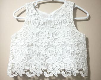 Lace, cotton lace, crop top, white lace top, boho lace top, lace top, boho, spring top, summer top, girl top, lace, off white