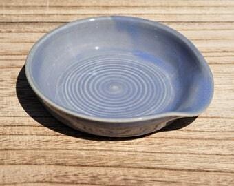 Ceramic Spoon Rest, Stoneware Pottery, Light Blue