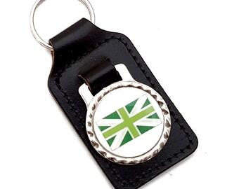 Green Union Jack, Black Leather Keyfob