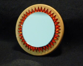 Dolls House Miniature Mirror Hand Decorated with Red Embellishments