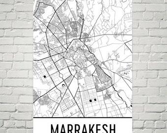 Marrakesh Map, Marrakesh Art, Marrakesh Print, Marrakesh Morocco Poster, Marrakesh Wall Art, Marrakesh Decor, Map of Marrakesh, Gift, Art