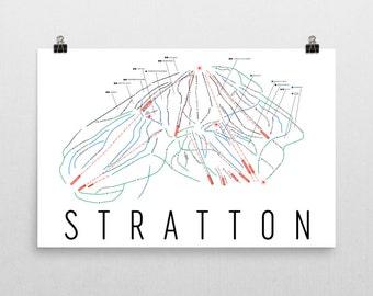 Stratton Ski Map Art, Stratton Vermont, Ski Vermont, Stratton Trail Map, Stratton Ski Resort Print, Snowboard Wall Art, Snowboard Decor