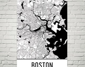 Boston Map, Boston Art, Boston Print, Boston Massachusetts Poster, Boston Wall Art, Map of Boston MA, Boston Gift, Boston Poster, Decor