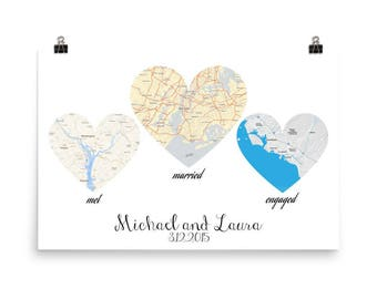 Anniversary Gifts For Women, Wedding Gift For Couple, Engagement Gift, Personalised Wedding Art, Personalised Map, Met, Engaged, Married