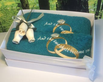 Embroidered Towels, Wedding Gift Set, Wedding Towel Set Gift, Hand and Bath Towel, Anniversary Towel Gift Set