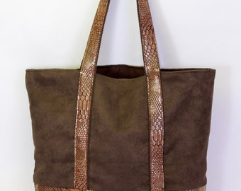 Brown faux suede  and faux snake skin leather tote