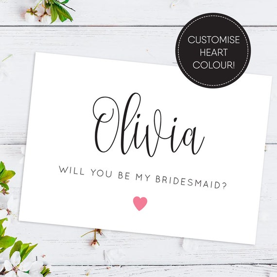 Printable/ Will You Be My Bridesmaid Card/ By