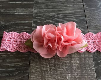 PINK LACE HAIRBOW,  Pink Chiffon Hairbow,  Pink Hairbow, Pink Baby Hairbow, Lace Hairbow, Baby Bows, Baby Headband, Dark Pink Hairbow