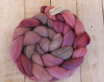 Allium, Hand dyed Merino Wool Top, purples, spinning fiber, felting fiber, roving