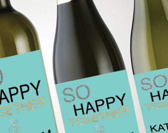 Personalized Custom Wedding Label, Wine, Champagne, Weddings, Rehearsal Dinners, Party Favors & More! So Happy Together!
