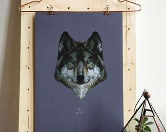 Wolf Lowpoly Fine Art Design Print   A3 & A5   Spirit Power Animal / Totem / Colour Psychology