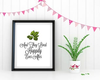 Wedding- Hoppily Ever After Beer Themed Print