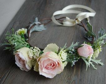Pink rose blooms flower crown, wedding crown