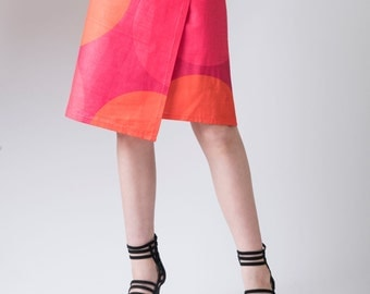Women's skirt, asymmetrical skirt, wrap skirt, ladies skirt, A-line skirt, circles pattern, red, orange, skirt, graphic skirt