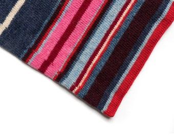 Vintage scarf, striped scarf, women's scarf, ladies neck scarf, retro scarf, pink striped scarf, wool scarf, mod scarf