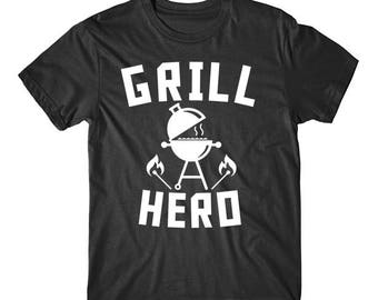 Grill Hero BBQ Charcoal Barbeque Funny Grilling T-Shirt