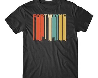 Vintage Retro 1970's Style Fort Wayne Indiana Skyline T-Shirt