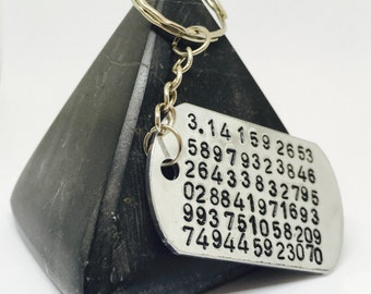 Pi, Pi Keyring, Pi key chain, Pi gift, Geeky gift, maths, mathmatician gift, nerdy gift, geek, nerd, numbers, gift for him, gifts for him