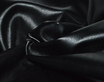 "Black Faux Leather Stretch Fabric 55"" Wide"