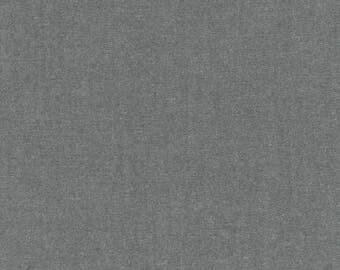 Pepper Interweave Cotton Chambray Fabric 44W- Robert Kaufman