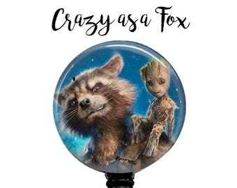 Guardians of the Galaxy Vol 2 Groot and Rocket Raccoon Retractable Badge Holder, ID Badge Holder,  Guardians of the Galaxy 2 Badge Reel