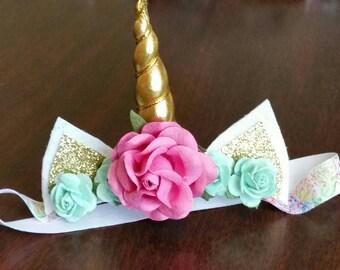 Baby Unicorn Headband with Paper Flowers