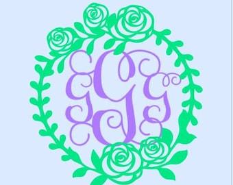 Flower Wreath Monogram Decal- Flower Monogram Decal - Monogram decal