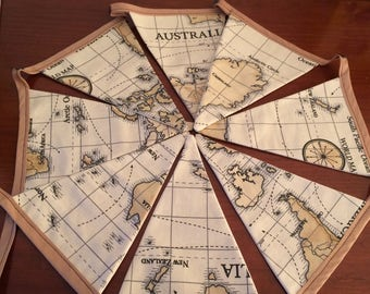 Brown vintage style world map cotton lined bunting eight flags