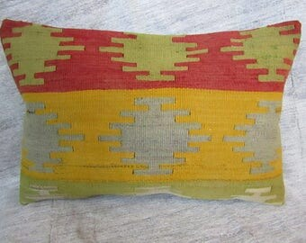 "Turkish Kilim Pillow, 16""x24""inches, 40x60cm, Turkish Handmade Tribal Anatolian Kilim Pillow Cover"