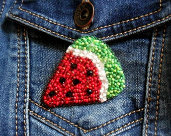 Brooch watermelon Bead emboidery Embroidered brooch  Exclusive jewelry Beaded brooch Watermelon