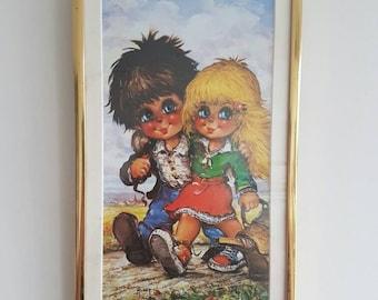 Sweet Vintage Big Eye Retro Art - Boy & Girl - Print Framed -Adorable - Blue Eyes - Kitsch